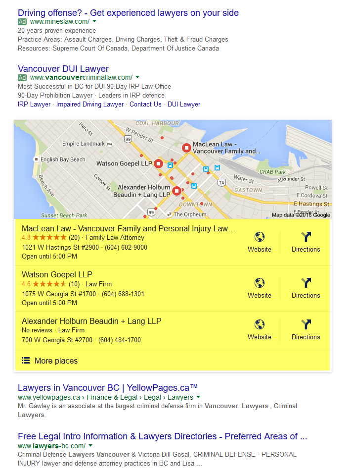 local search marketing vancouver laywers