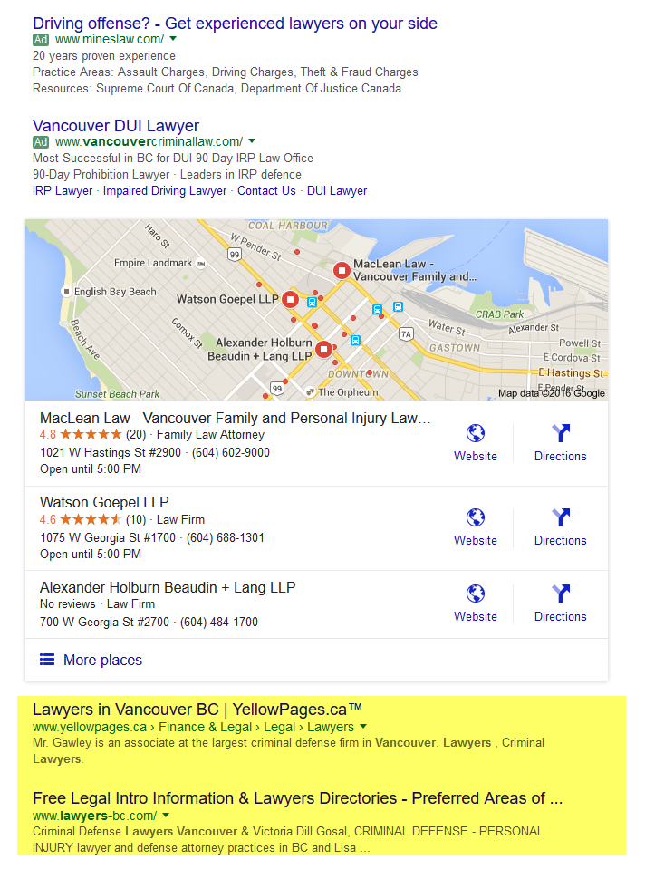 local search marketing vancouver lawyers