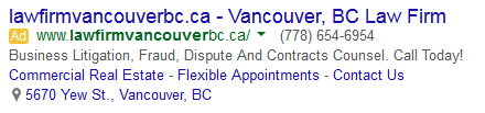 A search advertisement for vancouver law firm