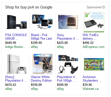 An example of an AdWords Shopping ad for PS4s