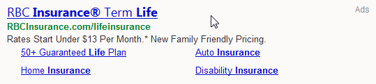An example of a Bing Ads text ad, in this case, from RBC