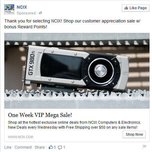 An example of a Facebook advertisement, in this case, from NCIX