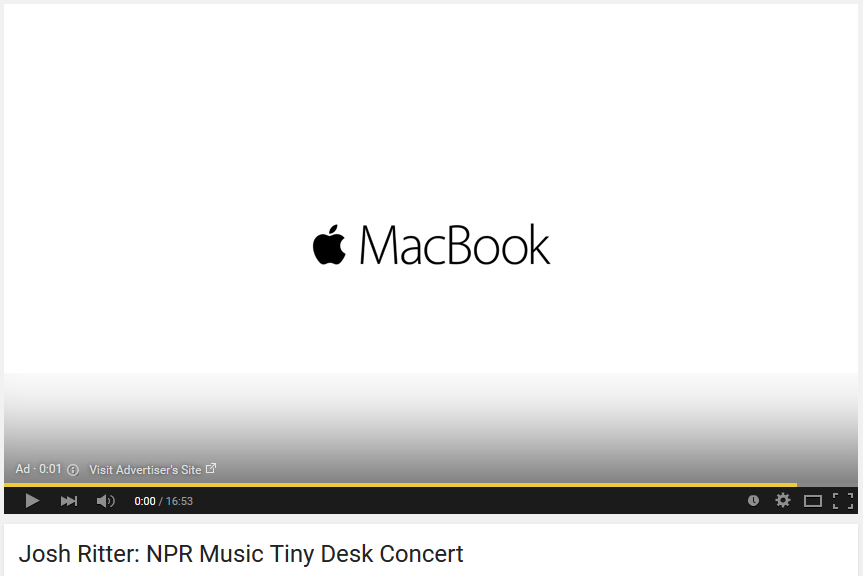 An example of a YouTube ad, in this case, for the Apple Macbook