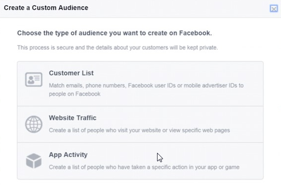 Facebook PPC advertising custom audiences