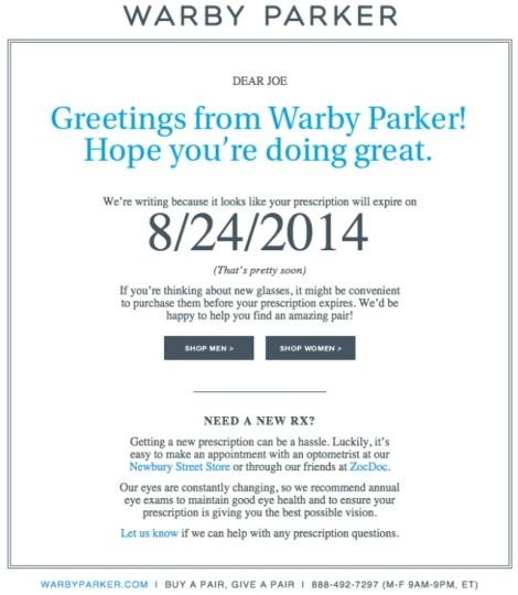 warby parker remarketing