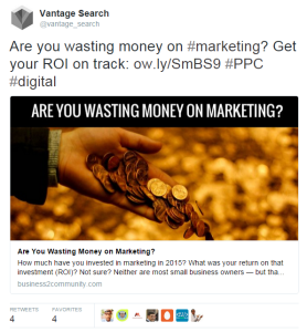 Tweet from Vantage Search Marketing
